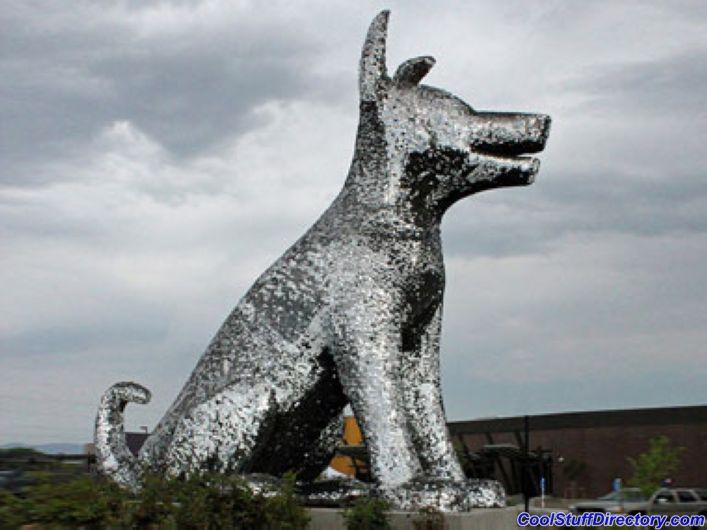 مجسمه سگ نقره ای غول پیکر- دنور، کلرادو